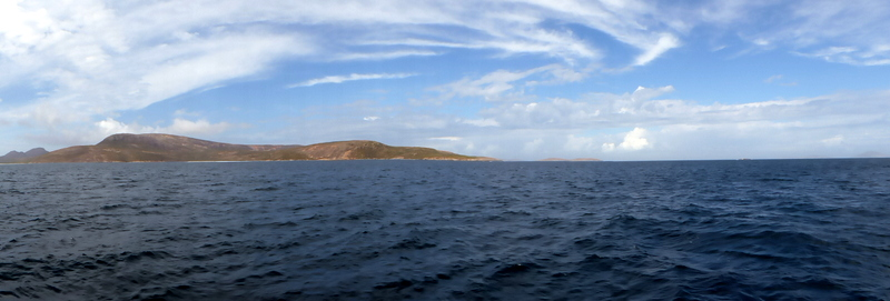Approaching our anchorage at Cap Le Grand