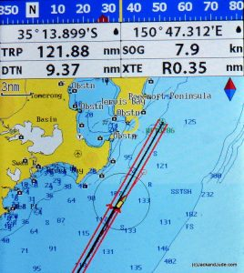 Approaching Jervis Bay with 30 knots NW, doing nearly 8 knots under reduced jib