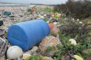 Man's rubbish on isolated beachs