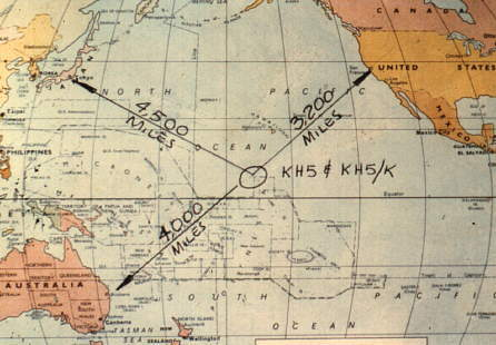 Map of South Pacific showing Kingman Reef