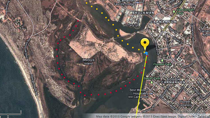 Track of kayak Carnarvon