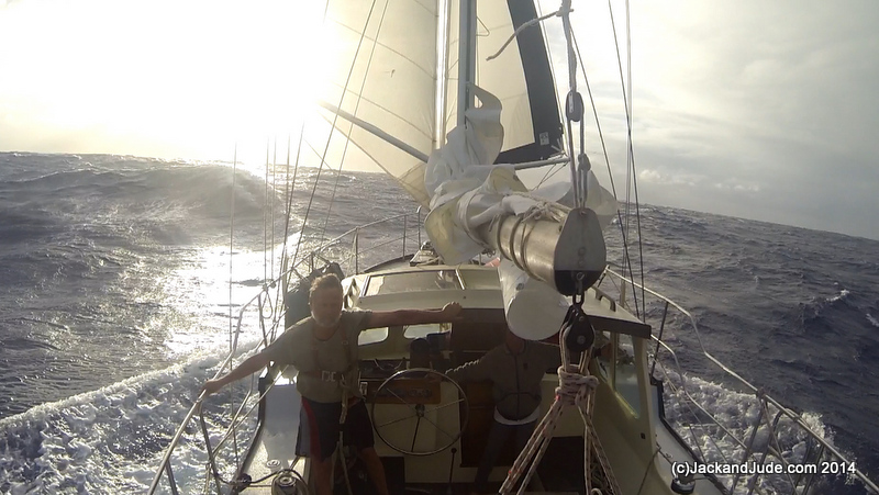 Running downwind under twin headsails