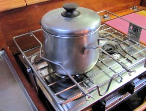 Banyandah's open handled pan on the stove top.