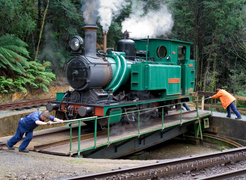 One of the ABT Steam locomotives of the former Mount Lyell railway on the West Coast Wilderness Railway,