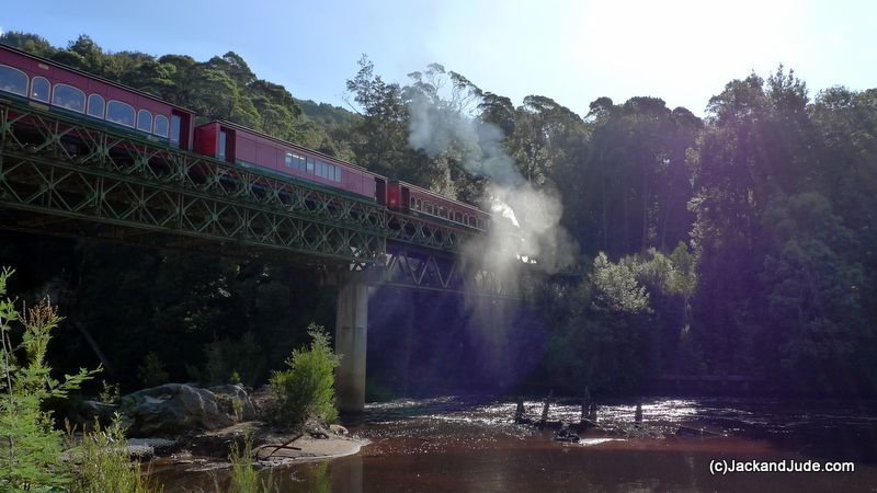 Puffing Billy blowing its whistle crossing the Quarter Mile Bridge.