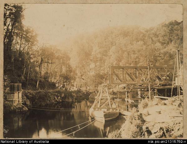 Iron Bridge being positioned 1896 - National Library of Australia