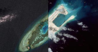 converting reefs to military facilities, South China Sea.