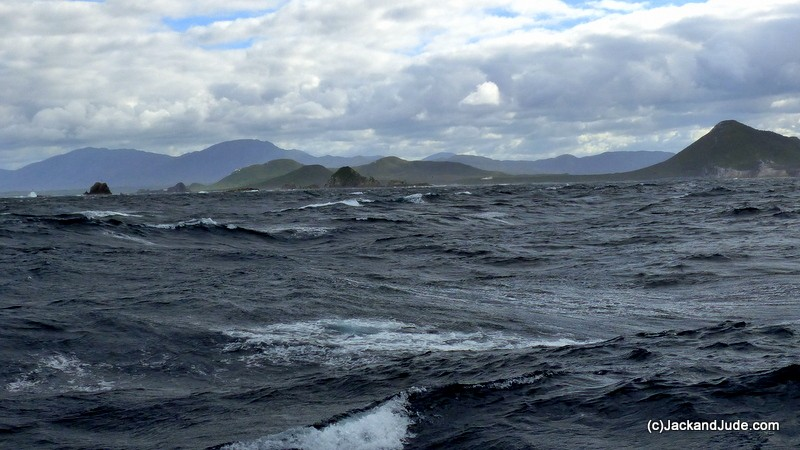 calmer conditions once past the islands