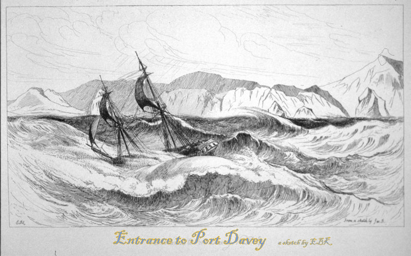 sketch of ship entering port davey