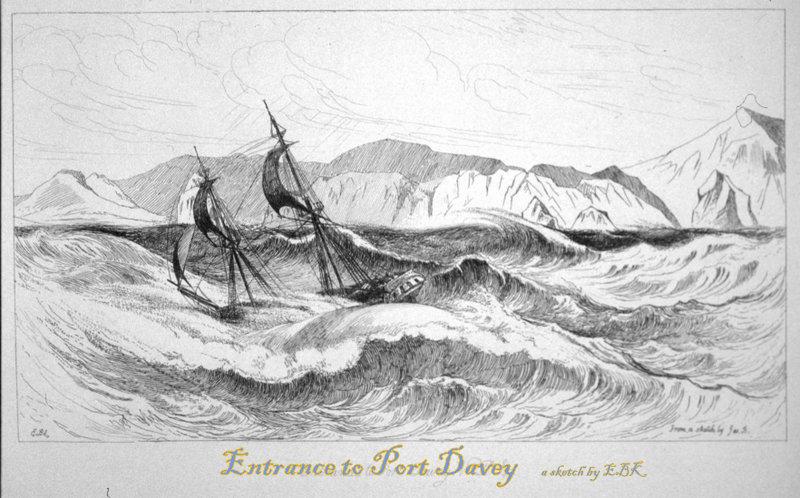 sketch of ship entering port davey