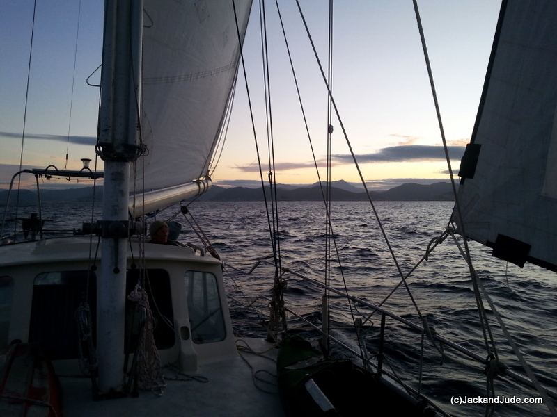 under sail at sunrise