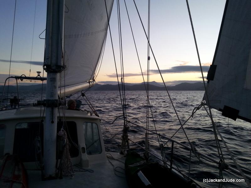 under sail at sunrise