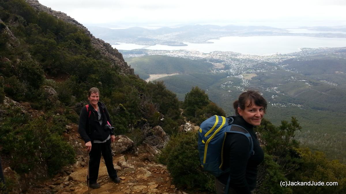 Jude and friend overlooking Hobart