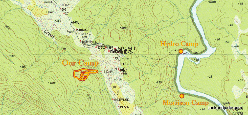 Camp Locations 1:25000 D'Aguilar topographical map