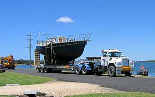yacht Banyandah on low loader