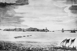 Convicts towing huon logs to Sarah Island
