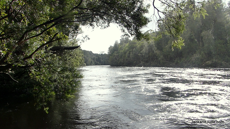 the Gordon River running fast