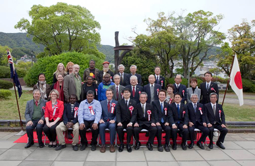 Delegates at the Official Opening Ceremony. 18th April, 2016, Nagasaki Peace Park. Photo by Jessie Boylan